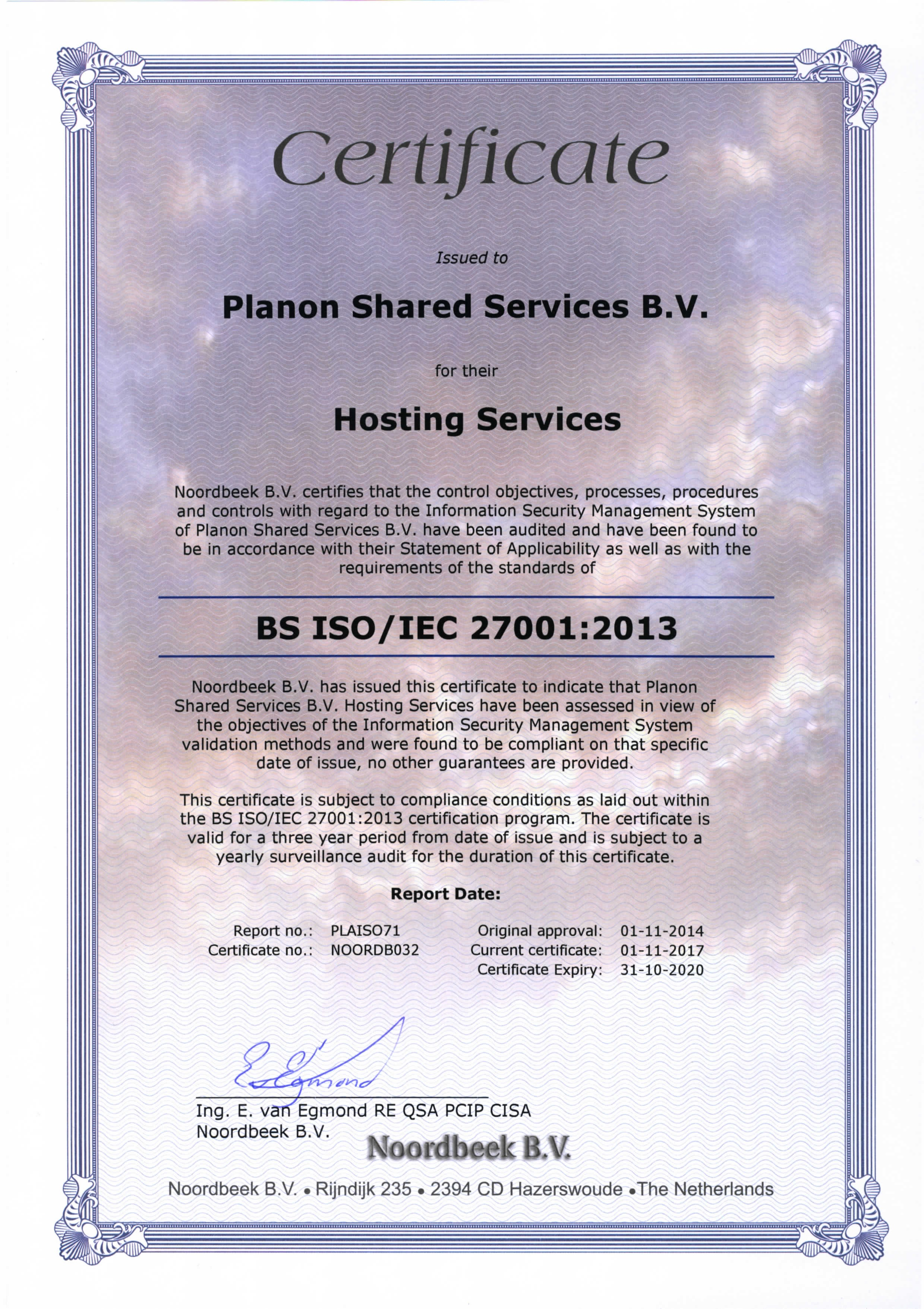 Certificate Planon Shared Services B.V.
