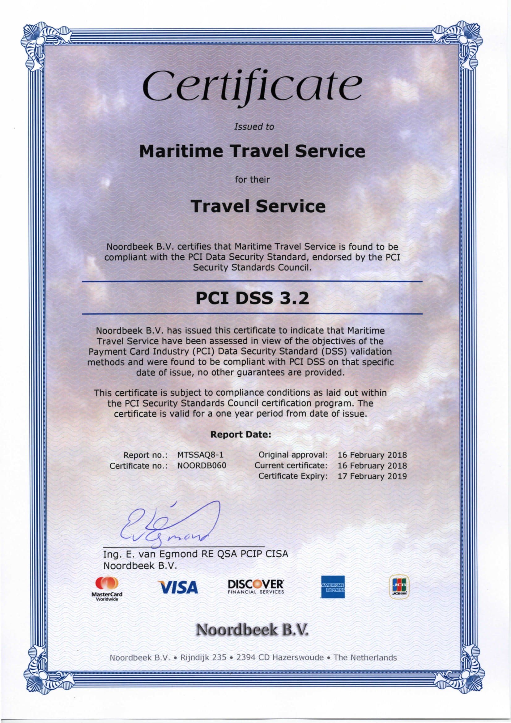 Certificate Maritime Travel Services