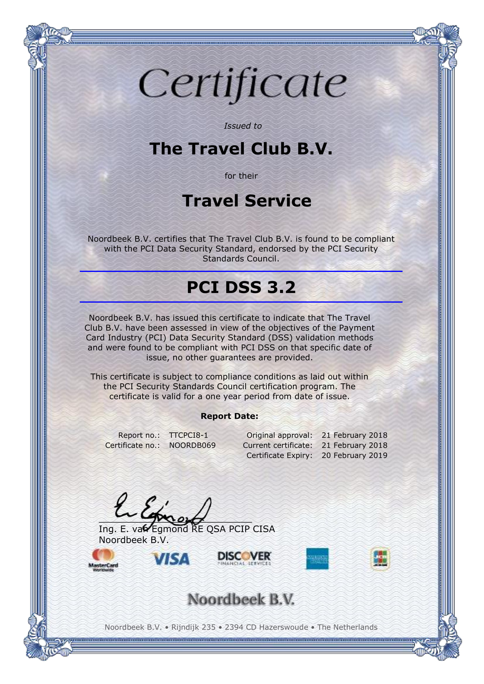 Certificate The Travel Club B.V.